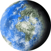 Jorden består av hälften vatten hälften land